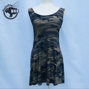 Camo fit and flare dress with low cut back size M
